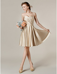 cheap Short Bridesmaid Dresses-A-Line Princess V Neck Strapless Jewel Neck One Shoulder Sweetheart Bateau Neck Knee Length Satin Bridesmaid Dress with Pocket Criss Cross