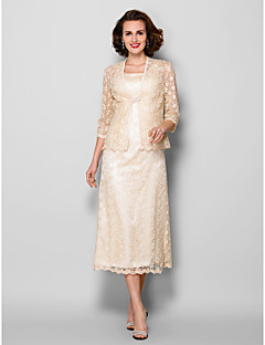 Sheath Column Square Neck Tea Length Lace Mother Of The Bride Dress With Crystal Brooch By Lan Ting Wrap Included
