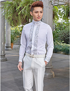 cheap Shirts-Mandarin Neck Long Sleeve Cotton/Polyester Patterns White Shirt for Suits