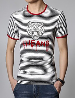 Men's Round Neck Casual Striped Short Sleeve T-Shirts