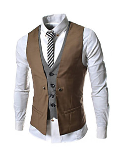 Men's Solid Casual / Work / Formal Slim Vest Top,Cotton Blend Sleeveless Black / Blue / White / Beige / Gray All Seasons