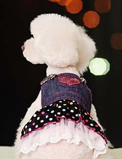 Dog Dress Dog Clothes Cosplay Jeans Polka Dots Blue Costume For Pets