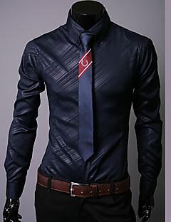 takım elbise için klasik / yarı boy boyun uzun kollu pamuk katı siyah / beyaz / lacivert gömlek