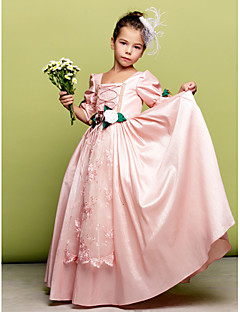 cheap Pageant Dresses-A-Line Princess Floor Length Flower Girl Dress - Taffeta 3/4 Length Sleeves Square Neck with Lace Flower by LAN TING BRIDE®