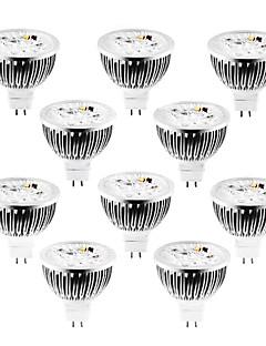 olcso Akció-10pcs 4 W 320 lm MR16 LED szpotlámpák 4 LED gyöngyök Nagyteljesítményű LED Tompítható Meleg fehér / Hideg fehér / Természetes fehér 12 V / 10 db. / RoHs