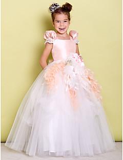 tanie Ubiór ślubny dla dzieci-Balowa Sięgająca podłoża Sukienka dla dziewczynki z kwiatami - Tafta / Tiul Krótki rękaw Kwadratowy dekolt z Kokardki / Kwiat przez LAN TING BRIDE®