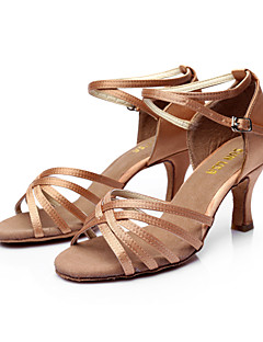 cheap -Women's Latin Shoes / Ballroom Shoes / Salsa Shoes Satin Sandal Buckle Customized Heel Customizable Dance Shoes Silver / Brown / Gold