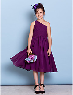 cheap Junior Bridesmaid Dresses-A-Line One Shoulder Tea Length Chiffon Junior Bridesmaid Dress with Criss Cross Side Draping by LAN TING BRIDE®