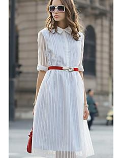 Χαμηλού Κόστους Stripes & checks-Γυναικεία Φαρδιά Σε γραμμή Α Φόρεμα - Ριγέ, Επίπεδα Σουρωτά