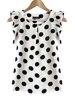 Women's Daily Plus Size Casual Summer Blouse,Polka Dot Round Neck Short Sleeves Polyester Translucent