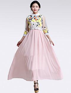 baratos Ponta de Estoque-Mulheres Vintage Vestido - Estampado Longo