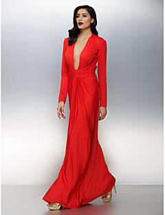 billiga Aftonklänningar-Åtsmitande Dunkel halsringning Golvlång Jersey Formell kväll Klänning med Veckad av TS Couture®