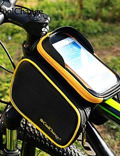 CoolChange 自転車用フレームバッグ サイクリングバックパック バックパック用アクセサリー 携帯電話バッグ 6.2 インチ 反射ストリップ 防雨 横滑り防止 タッチスクリーン サイクリング のために Samsung Galaxy S6 LG G3 フリーサイズ