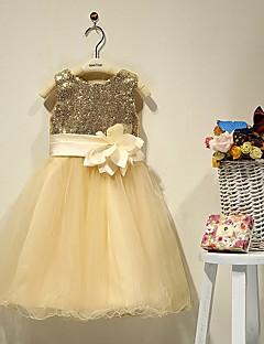 tanie Sukienki na co dzień-Krój A Lekko nad kolana Sukienka dla dziewczynki z kwiatami - Satyna Bez rękawów Dekolt serduszko z Koraliki Kwiat przez LAN TING Express