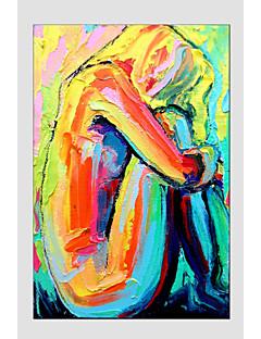 tanie Portrety abstrakcyjne-Ręcznie malowane Portret abstrakcyjny Pionowy, Fason europejski Nowoczesny Brezentowy Hang-Malowane obraz olejny Dekoracja domowa Jeden