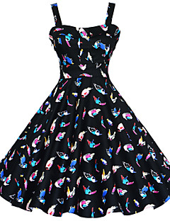 お買い得  ヴィンテージドレス-女性用 プラスサイズ ヴィンテージ Aライン ドレス - フラワー プリント, フラワー 幾何学模様 膝丈 ストラップ