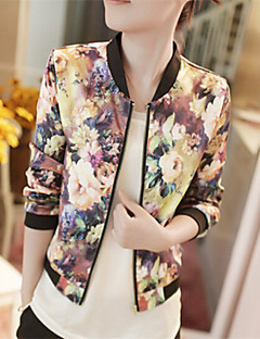 cheap -Women's Weekend Casual/Daily Spring Fall Regular Jacket, Floral Floral Print Stand Polyester Print