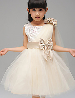 A-Line Ball Gown Knee Length Flower Girl Dress - Cotton Sleeveless Jewel Neck with Ribbon by YDN
