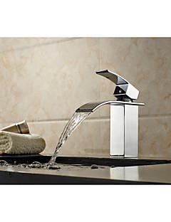 tanie Wodospad-Bateria wannowa - Art Deco / Retro Chrom Podłogowy Zawór ceramiczny / Jeden uchwyt Jeden otwór