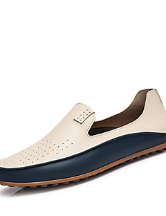 cheap -Men's Shoes Nappa Leather Spring Fall Driving Shoes Comfort Loafers & Slip-Ons White Blue