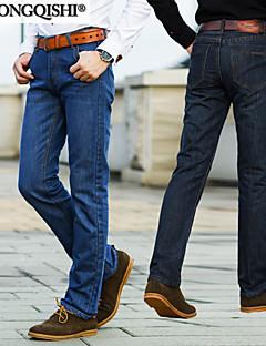 billige Herrebukser og -shorts-Herre Bomull Denimstoff Jeans Bukser Ensfarget