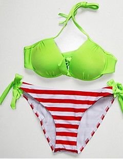 Anny Women's Push-up/Wireless Color Block Bandeau Bikinis (Polyester)