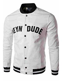 男性用 つや消しブラック カジュアル ジャケット,半袖,コットン / ポリエステル,ブラック / ブルー / ホワイト / イエロー