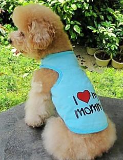 billiga Hundkläder-Katt Hund T-shirt Hundkläder Hjärta Bokstav & Nummer Orange Grå Blå Rosa Cotton Kostym För husdjur Cosplay Bröllop