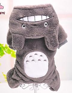 billiga Hundkläder-Hund Jumpsuits Pyjamas Hundkläder Tecknat Grå Polär Ull Kostym För husdjur Herr Dam Gulligt Ledigt / vardag