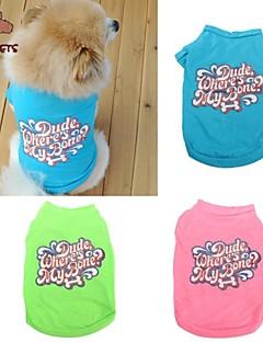 billiga Hundkläder-Katt / Hund T-shirt Hundkläder Bokstav & Nummer Grön / Blå / Rosa Cotton Kostym För husdjur Sommar Cosplay / Bröllop