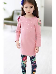 tanie Odzież dla dziewczynek-Komplet odzieży Bawełna Poliester Dla dziewczynek Jendolity kolor Zima Wiosna Jesień Długi rękaw Kwiatowy Ciemno niebieski Różowy