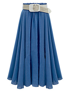 Women's Casual/Daily Midi Skirts,Simple Street chic Swing Pleated Solid Summer