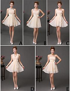 a-strapストラップ、フリルのスパンコール付きショート/ミニシフォンウエディングドレス