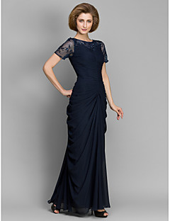 Sheath / Column Bateau Neck Floor Length Chiffon Mother of the Bride Dress with Beading Ruching by LAN TING BRIDE®