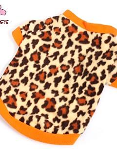 billiga Hundkläder-Katt Hund T-shirt Tröja Hundkläder Leopard Brun Polär Ull Kostym För husdjur Herr Dam Mode