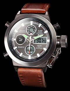 billige Luksus Ure-Herre Quartz Digital Digital Watch Armbåndsur Militærur Sportsur Japansk Alarm Kalender Kronograf Vandafvisende Dobbelte Tidszoner LCD