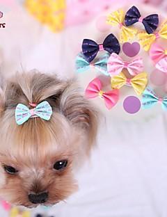 billiga Hundkläder-Katt Hund Håraccessoarer Rosetter Hundkläder Mörkblå Gul Ros Blå Rosa Blandat Material Kostym För husdjur Cosplay Bröllop