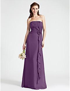 シース/コットンストラップレスの床の長さシフォン花嫁の花嫁