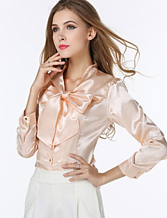 billige Plusstørrelser til kvinder på udsalg-V-hals Dame - Ensfarvet Sløjfer Plusstørrelser Skjorte / Efterår