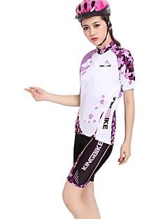 Kingbike Sykkeljersey med shorts Dame Kort Erme Sykkel Jersey Shorts Klessett Fort Tørring Anvendelig Pustende Tilbake Lomme Terylene