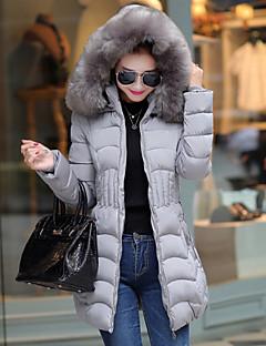 Manteau Rembourré Femme,Longue simple Grandes Tailles Couleur Pleine-Polyester Polyester Manches Longues Capuche