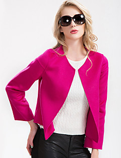 Women's Plus Size Coat,Solid Round Neck Long Sleeve Fall Pink / Red / White / Gray / Yellow Wool / Others Medium