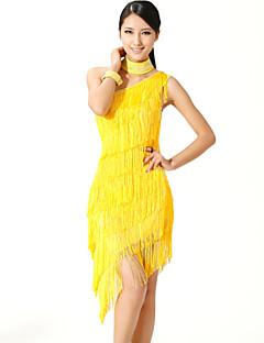 Latein-Tanz Kleider Damen Vorstellung Polyester Elastan 3 Stück Ärmellos Hoch Kleid Neckwear Armband