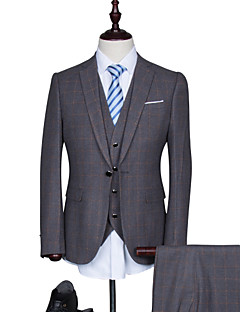 Suits Standard Fit Notch Single Breasted One-button Cotton Blend Checkered / Gingham 3 Pieces