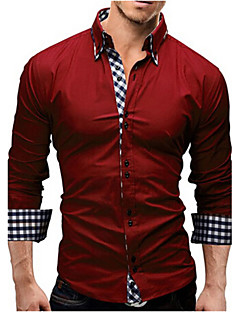cheap Dress Shirts-Men's Business Cotton Slim Shirt - Solid Colored Spread Collar / Long Sleeve / Spring / Fall / Work