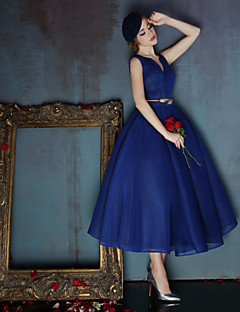 cheap Special Occasion Dresses-Ball Gown V Neck Tea Length Spandex Prom / Family Gathering Dress with Sash / Ribbon by LAN TING Express