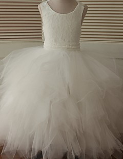 Ball Gown Ankle Length Flower Girl Dress - Lace Tulle Sleeveless Scoop Neck with Cascading Ruffles by LAN TING BRIDE®