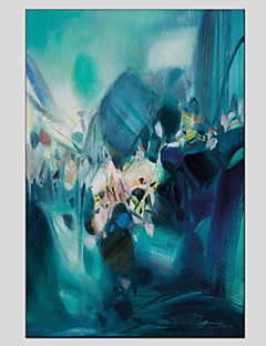 tanie Pejzaże abstrakcyjne-Hang-Malowane obraz olejny Ręcznie malowane - Abstrakcja Nowoczesny / Fason europejski Brezentowy / Rozciągnięte płótno
