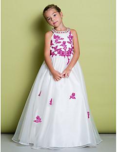 tanie Ubiór ślubny dla dzieci-Krój A Sięgająca podłoża Sukienka dla dziewczynki z kwiatami - Organza Bez rękawów Zaokrąglony z Koraliki / Haft nakładany przez LAN TING BRIDE®