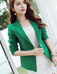 Women's Slim All Match Leisure Fashion  Solid Blue / Green Blazer , Bodycon / Work Peaked Lapel Long Sleeve